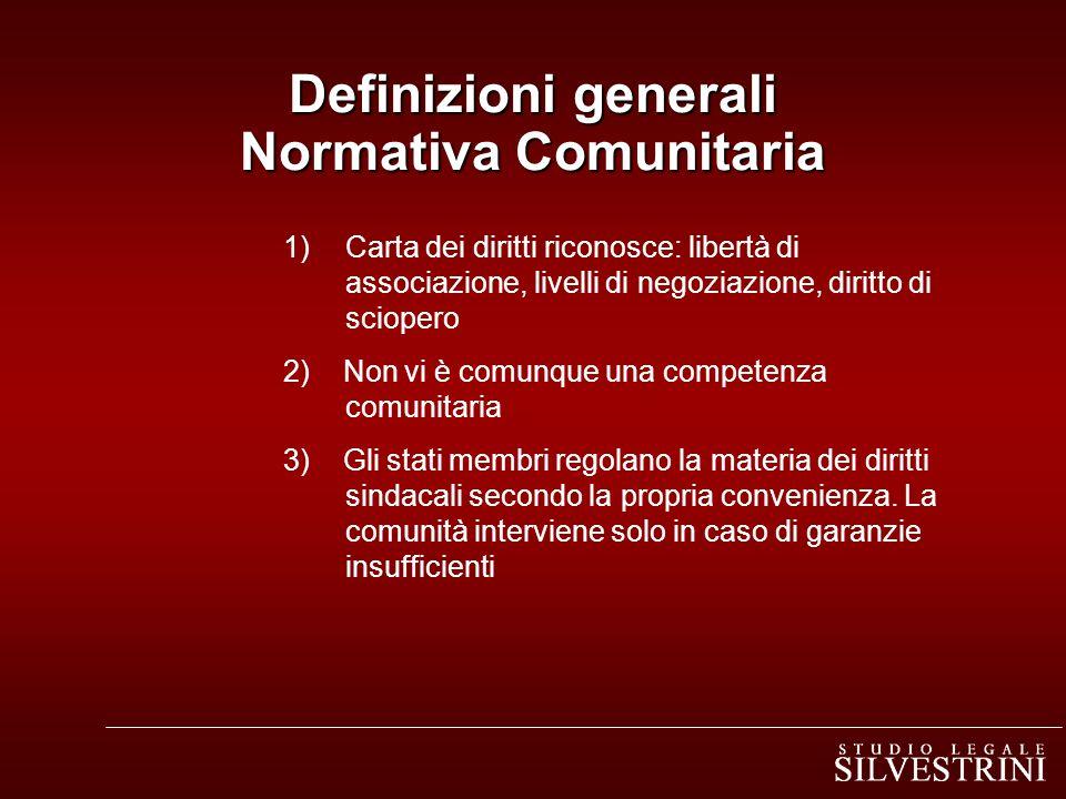 1)Carta dei diritti riconosce: libertà di associazione, livelli di negoziazione, diritto di sciopero 2) Non vi è comunque una competenza comunitaria 3