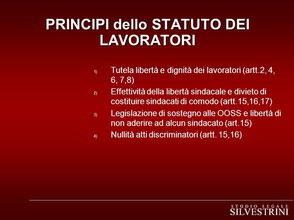 PRINCIPI dello STATUTO DEI LAVORATORI 1) Tutela libertà e dignità dei lavoratori (artt.2, 4, 6, 7,8) 2) Effettività della libertà sindacale e divieto