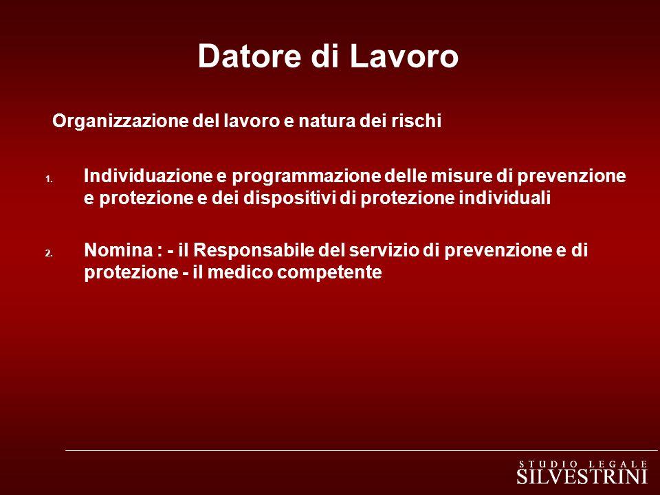 Datore di Lavoro Organizzazione del lavoro e natura dei rischi 1. Individuazione e programmazione delle misure di prevenzione e protezione e dei dispo