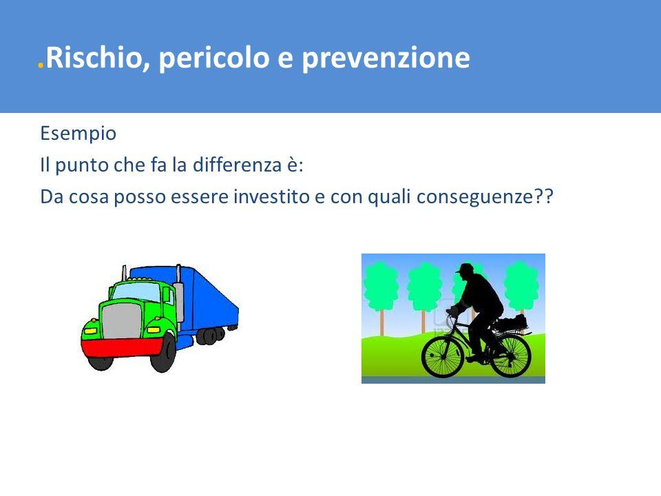.Rischio, pericolo e prevenzione Esempio Il punto che fa la differenza è: Da cosa posso essere investito e con quali conseguenze??