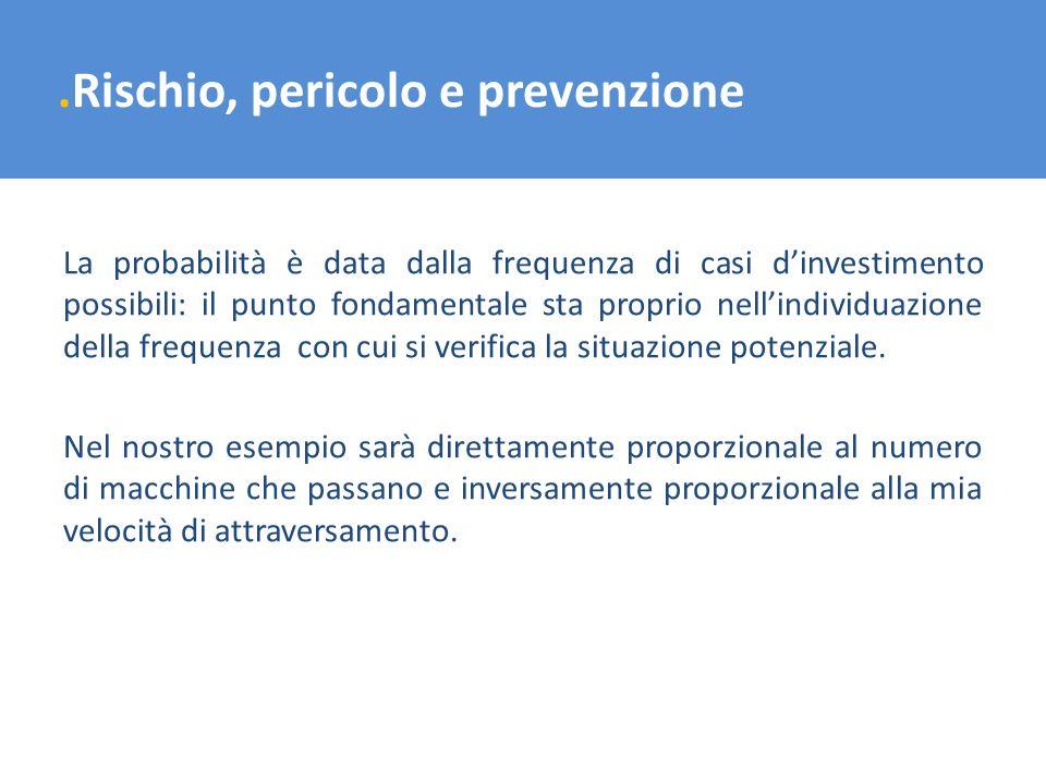 .Rischio, pericolo e prevenzione La probabilità è data dalla frequenza di casi dinvestimento possibili: il punto fondamentale sta proprio nellindividu