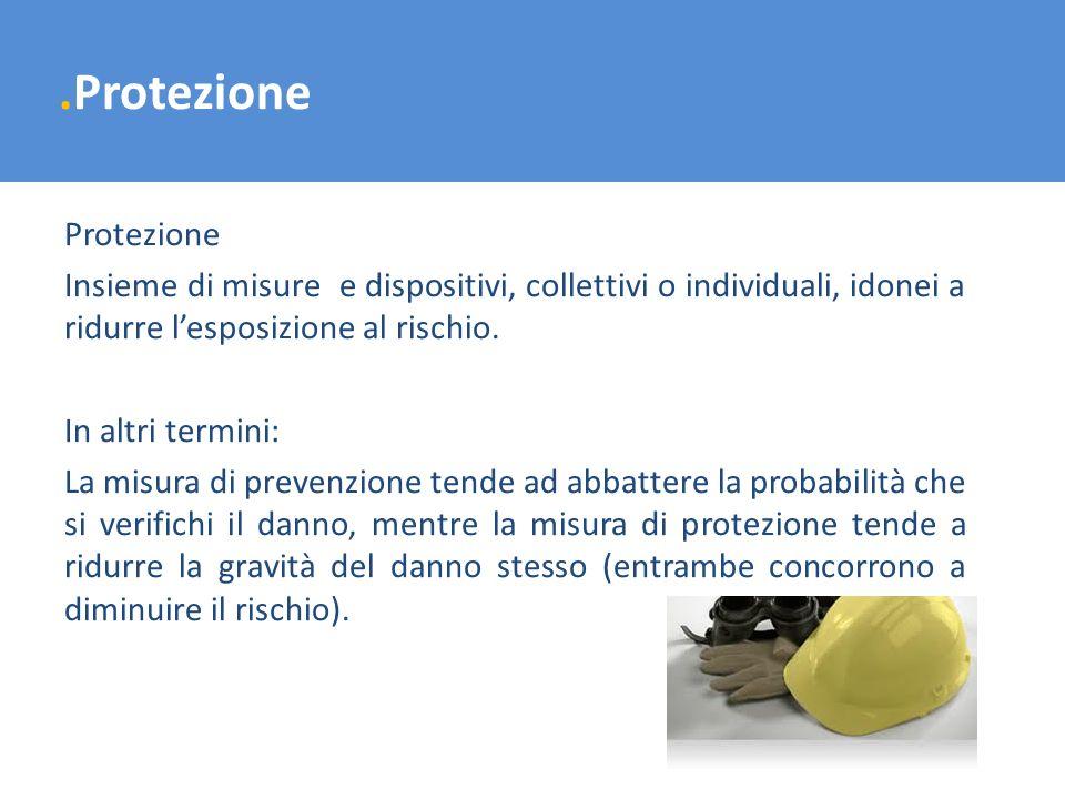.Protezione Protezione Insieme di misure e dispositivi, collettivi o individuali, idonei a ridurre lesposizione al rischio. In altri termini: La misur