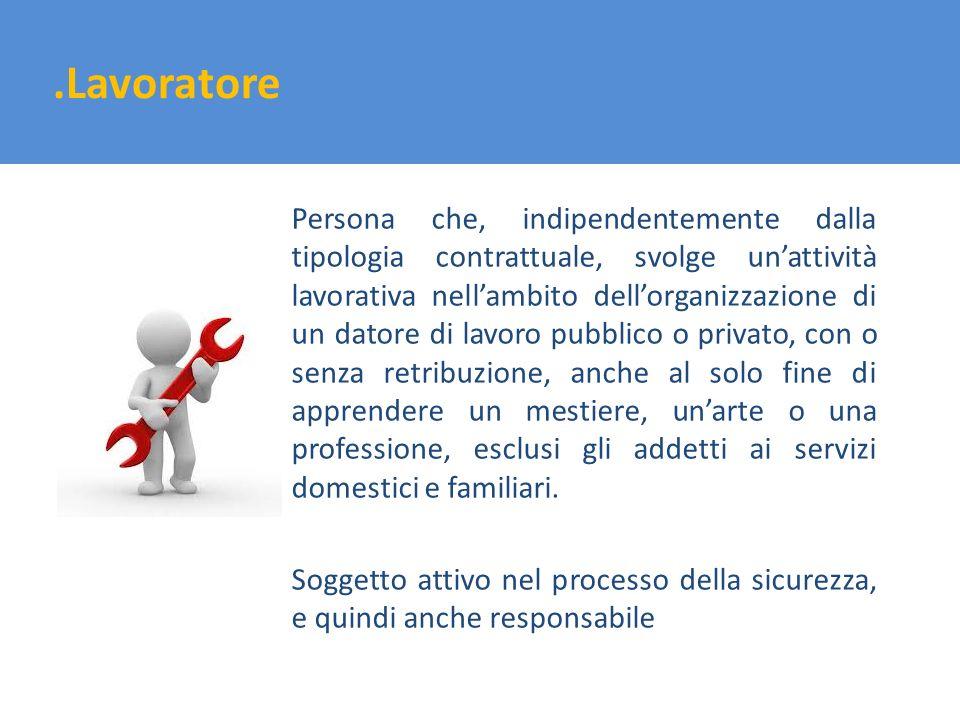 .Lavoratore Persona che, indipendentemente dalla tipologia contrattuale, svolge unattività lavorativa nellambito dellorganizzazione di un datore di la