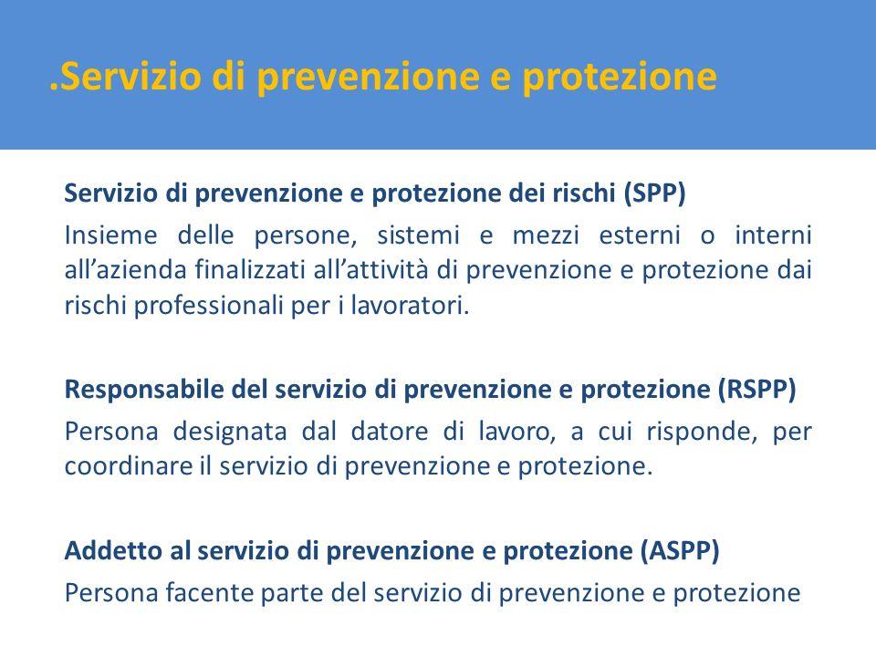 .Servizio di prevenzione e protezione Servizio di prevenzione e protezione dei rischi (SPP) Insieme delle persone, sistemi e mezzi esterni o interni a