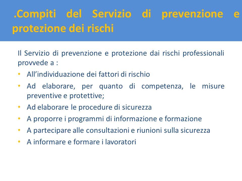 .Compiti del Servizio di prevenzione e protezione dei rischi Il Servizio di prevenzione e protezione dai rischi professionali provvede a : Allindividu
