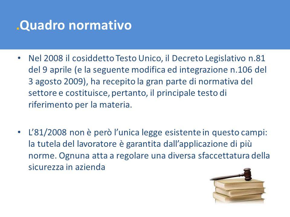 .Quadro normativo Nel 2008 il cosiddetto Testo Unico, il Decreto Legislativo n.81 del 9 aprile (e la seguente modifica ed integrazione n.106 del 3 ago