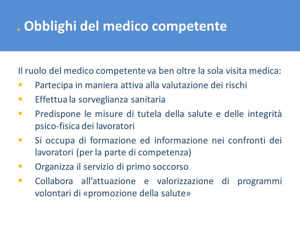 . Obblighi del medico competente Il ruolo del medico competente va ben oltre la sola visita medica: Partecipa in maniera attiva alla valutazione dei r