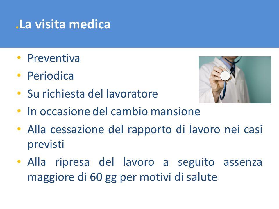 .La visita medica Preventiva Periodica Su richiesta del lavoratore In occasione del cambio mansione Alla cessazione del rapporto di lavoro nei casi pr