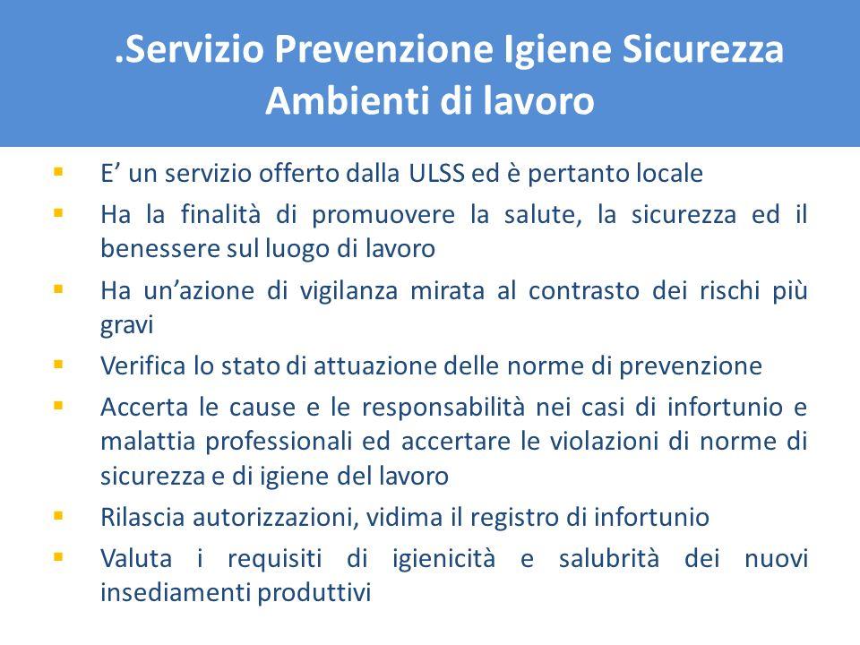 .Servizio Prevenzione Igiene Sicurezza Ambienti di lavoro E un servizio offerto dalla ULSS ed è pertanto locale Ha la finalità di promuovere la salute