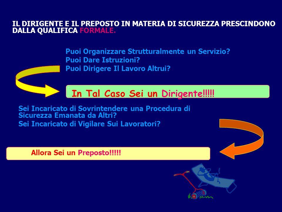 IL DIRIGENTE E IL PREPOSTO IN MATERIA DI SICUREZZA PRESCINDONO DALLA QUALIFICA FORMALE.