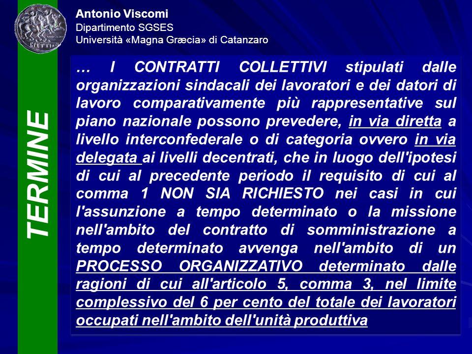 TERMINE Antonio Viscomi Dipartimento SGSES Università «Magna Græcia» di Catanzaro … I CONTRATTI COLLETTIVI stipulati dalle organizzazioni sindacali de