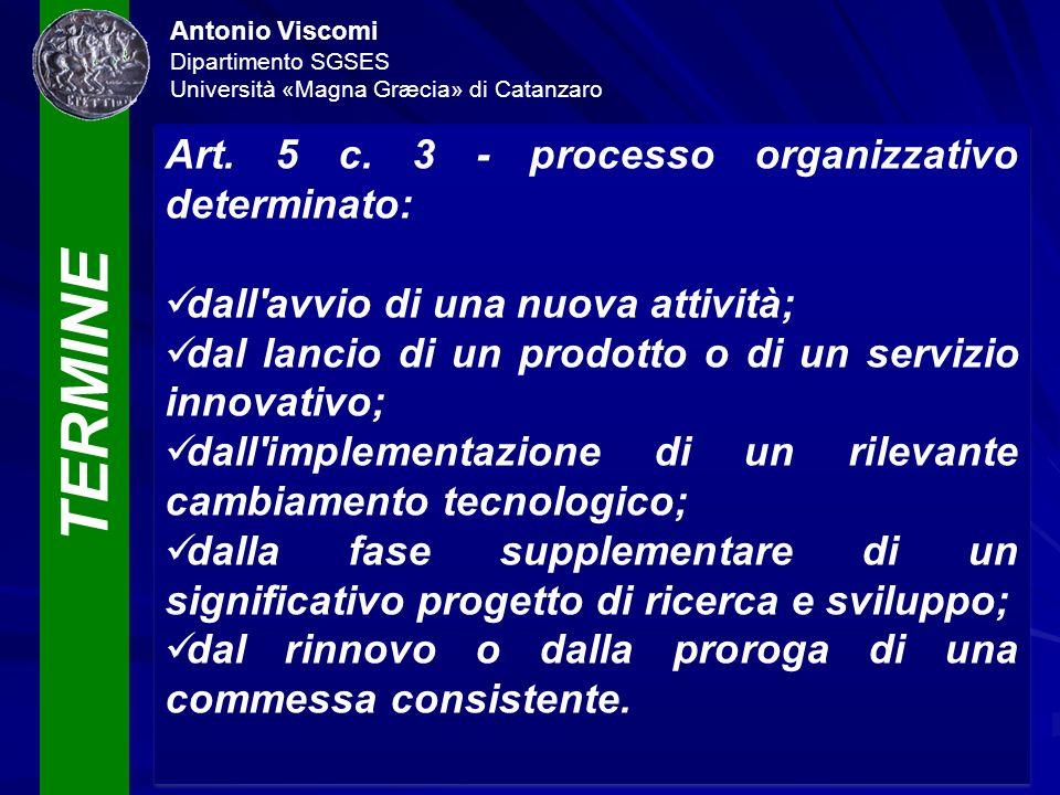 TERMINE Antonio Viscomi Dipartimento SGSES Università «Magna Græcia» di Catanzaro Art. 5 c. 3 - processo organizzativo determinato: dall'avvio di una