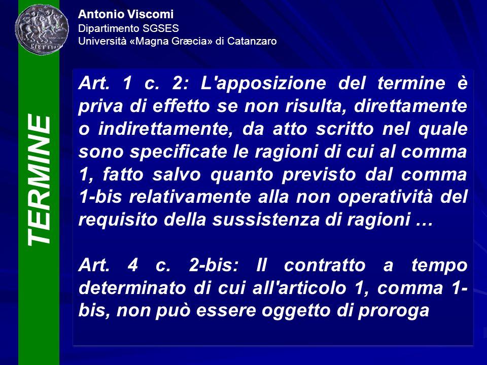 TERMINE Antonio Viscomi Dipartimento SGSES Università «Magna Græcia» di Catanzaro Art. 1 c. 2: L'apposizione del termine è priva di effetto se non ris