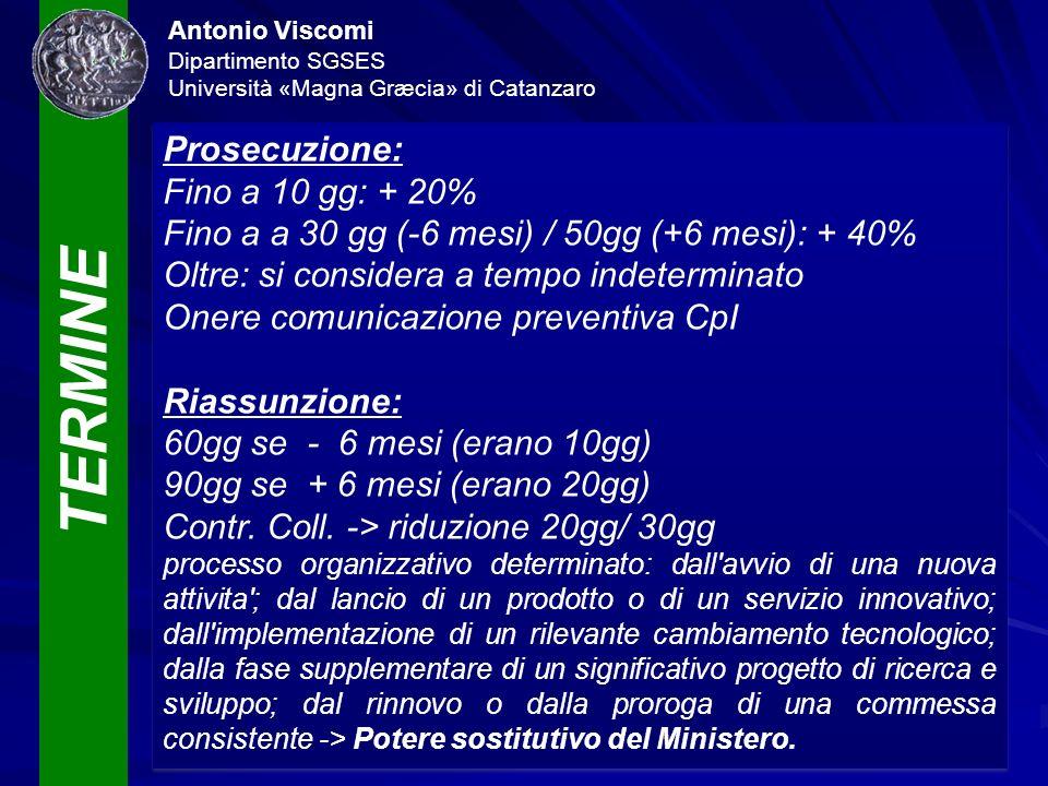 TERMINE Antonio Viscomi Dipartimento SGSES Università «Magna Græcia» di Catanzaro Prosecuzione: Fino a 10 gg: + 20% Fino a a 30 gg (-6 mesi) / 50gg (+