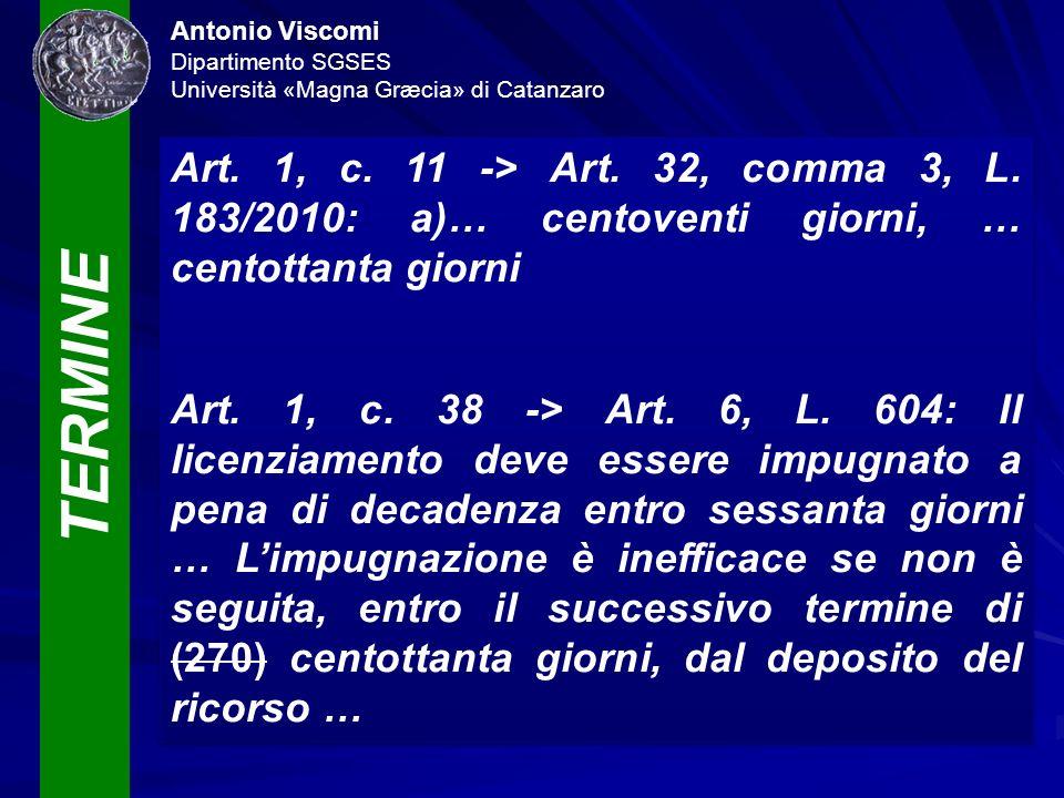 TERMINE Antonio Viscomi Dipartimento SGSES Università «Magna Græcia» di Catanzaro Art. 1, c. 11 -> Art. 32, comma 3, L. 183/2010: a)… centoventi giorn