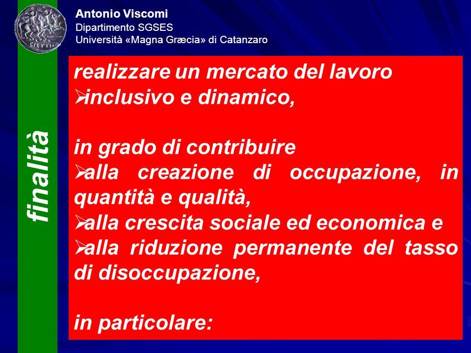 Antonio Viscomi Dipartimento SGSES Università «Magna Græcia» di Catanzaro finalità realizzare un mercato del lavoro inclusivo e dinamico, in grado di
