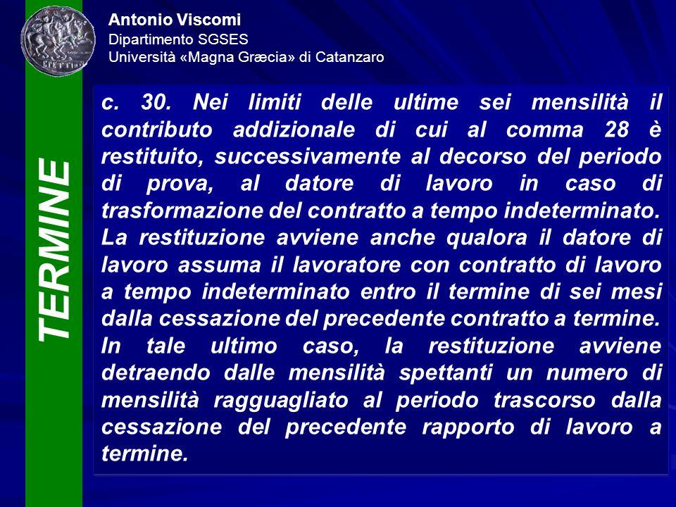 TERMINE Antonio Viscomi Dipartimento SGSES Università «Magna Græcia» di Catanzaro c. 30. Nei limiti delle ultime sei mensilità il contributo addiziona