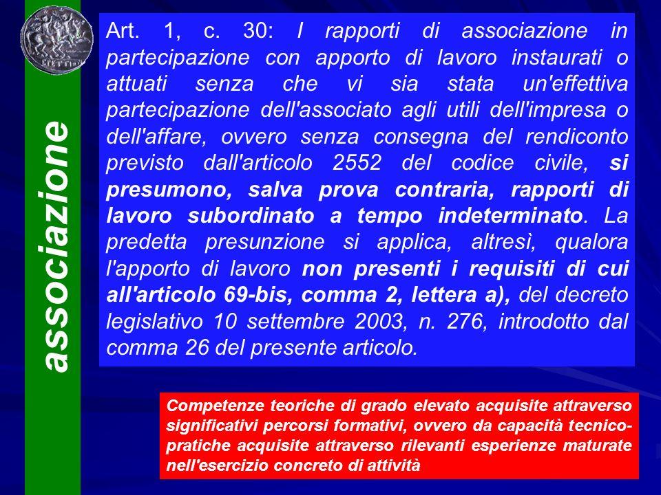 associazione Antonio Viscomi Dipartimento SGSES Università «Magna Græcia» di Catanzaro Art. 1, c. 30: I rapporti di associazione in partecipazione con