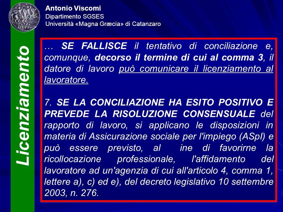 Licenziamento Antonio Viscomi Dipartimento SGSES Università «Magna Græcia» di Catanzaro … SE FALLISCE il tentativo di conciliazione e, comunque, decor