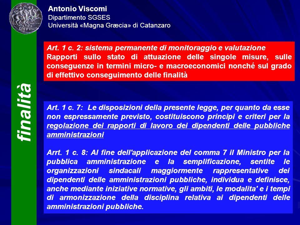 finalità Antonio Viscomi Dipartimento SGSES Università «Magna Græcia» di Catanzaro Art. 1 c. 2: sistema permanente di monitoraggio e valutazione Rappo