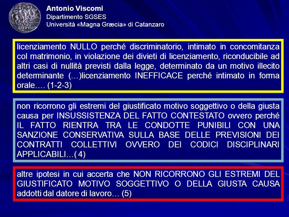 Antonio Viscomi Dipartimento SGSES Università «Magna Græcia» di Catanzaro licenziamento NULLO perché discriminatorio, intimato in concomitanza col mat