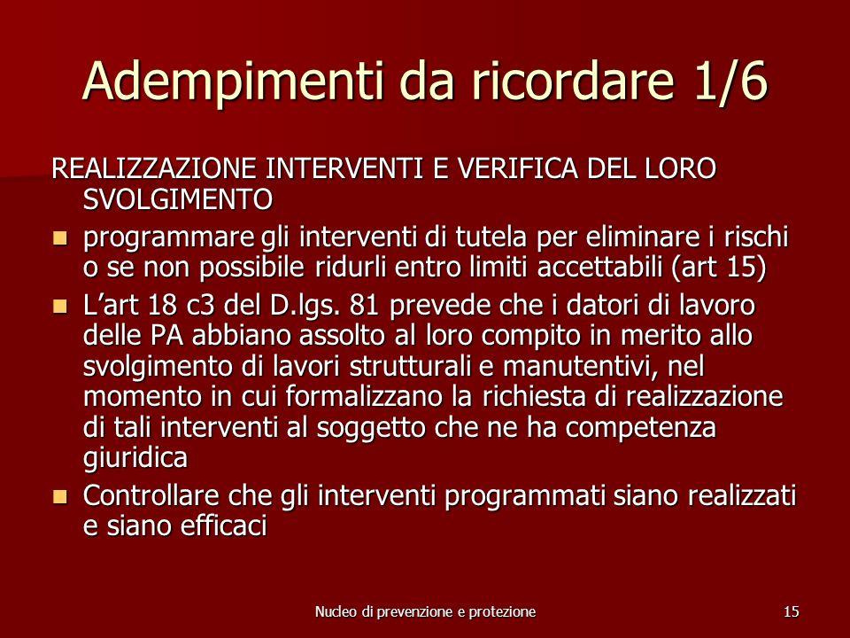Nucleo di prevenzione e protezione15 Adempimenti da ricordare 1/6 REALIZZAZIONE INTERVENTI E VERIFICA DEL LORO SVOLGIMENTO programmare gli interventi di tutela per eliminare i rischi o se non possibile ridurli entro limiti accettabili (art 15) programmare gli interventi di tutela per eliminare i rischi o se non possibile ridurli entro limiti accettabili (art 15) Lart 18 c3 del D.lgs.