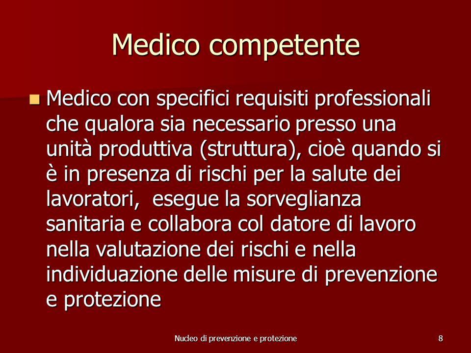 Nucleo di prevenzione e protezione19 Adempimenti da ricordare 5/6 MISURE DI EMERGENZA Il datore o suo delegato mette in atto le misure per la gestione dellemergenza.