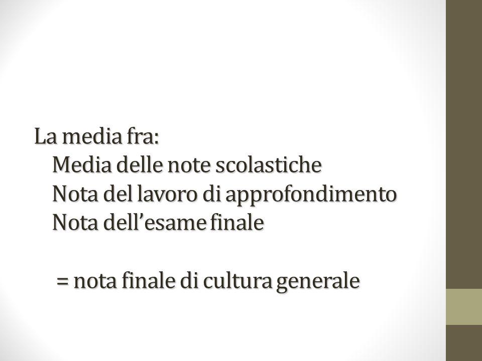 La media fra: Media delle note scolastiche Nota del lavoro di approfondimento Nota dellesame finale = nota finale di cultura generale