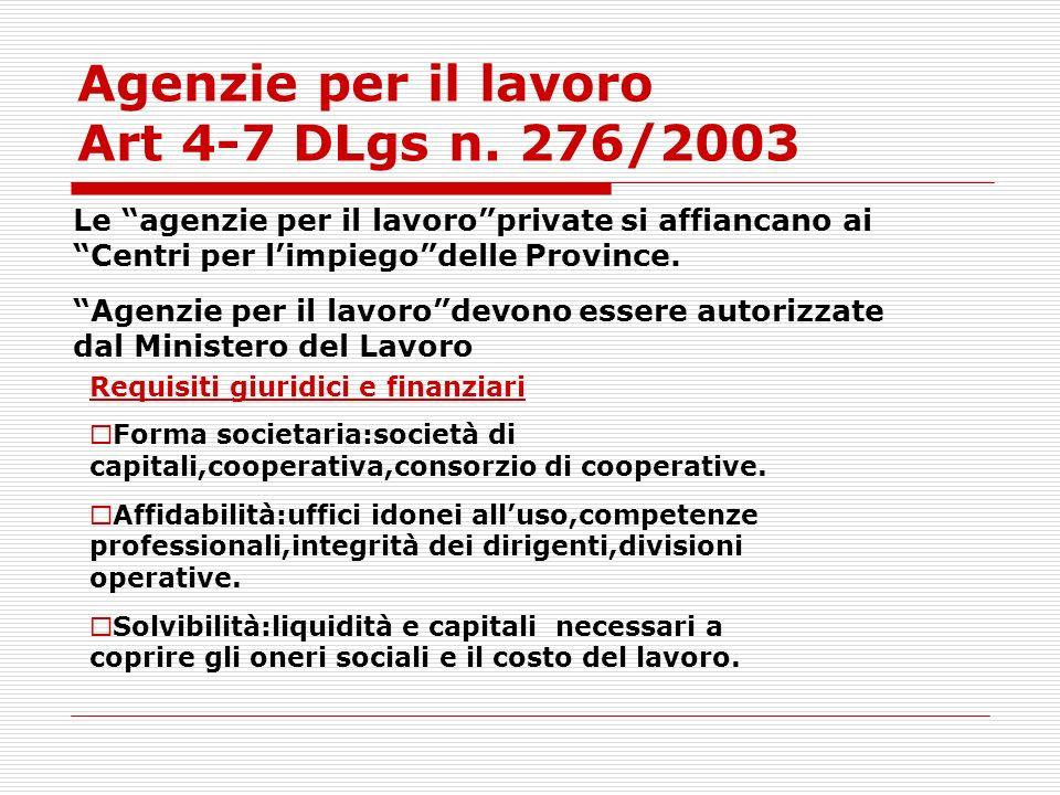 Agenzie per il lavoro Art 4-7 DLgs n. 276/2003 Le agenzie per il lavoroprivate si affiancano ai Centri per limpiegodelle Province. Agenzie per il lavo