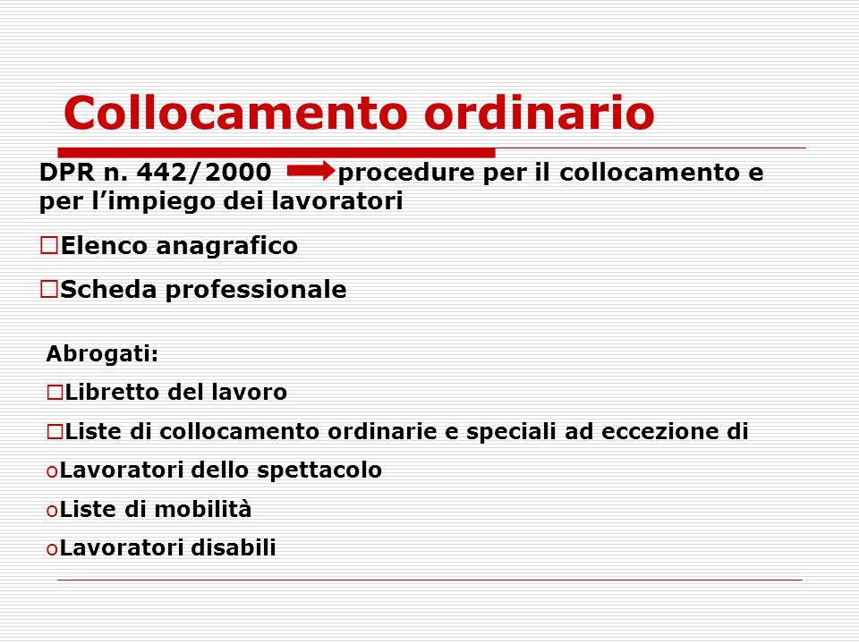 Collocamento ordinario DPR n. 442/2000 procedure per il collocamento e per limpiego dei lavoratori Elenco anagrafico Scheda professionale Abrogati: Li