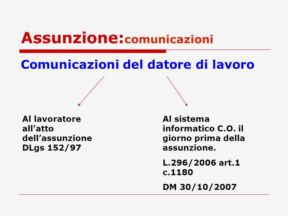 Assunzione: comunicazioni Comunicazioni del datore di lavoro Al lavoratore allatto dellassunzione DLgs 152/97 Al sistema informatico C.O. il giorno pr