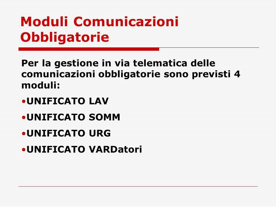 Moduli Comunicazioni Obbligatorie Per la gestione in via telematica delle comunicazioni obbligatorie sono previsti 4 moduli: UNIFICATO LAV UNIFICATO S
