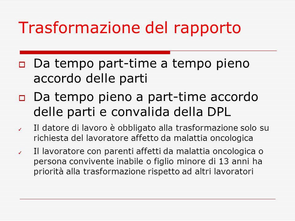 Trasformazione del rapporto Da tempo part-time a tempo pieno accordo delle parti Da tempo pieno a part-time accordo delle parti e convalida della DPL