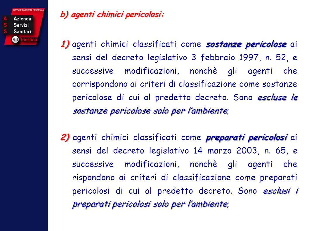 b) agenti chimici pericolosi: 1)sostanze pericolose escluse le sostanze pericolose solo per lambiente 1)agenti chimici classificati come sostanze peri