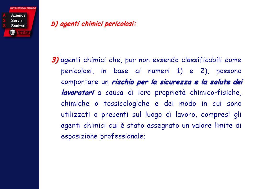 b) agenti chimici pericolosi: 3) rischio per la sicurezza e la salute dei lavoratori 3) agenti chimici che, pur non essendo classificabili come perico