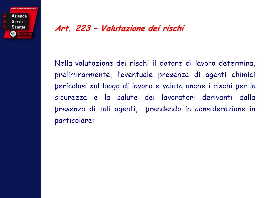 Art. 223 – Valutazione dei rischi Nella valutazione dei rischi il datore di lavoro determina, preliminarmente, leventuale presenza di agenti chimici p