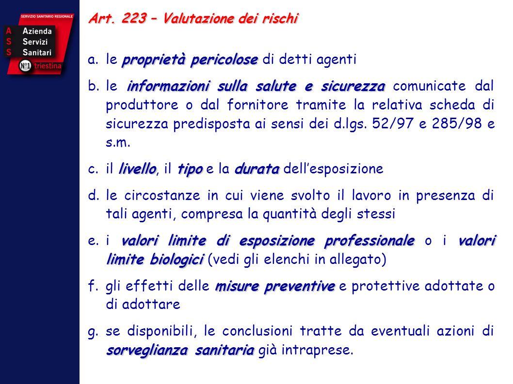 Art. 223 – Valutazione dei rischi proprietà pericolose a.le proprietà pericolose di detti agenti informazioni sulla salute e sicurezza b.le informazio