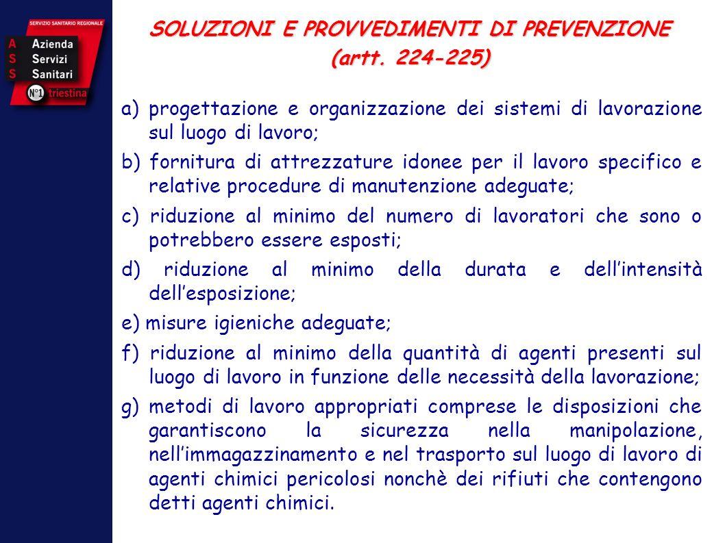 SOLUZIONI E PROVVEDIMENTI DI PREVENZIONE (artt. 224-225) a)progettazione e organizzazione dei sistemi di lavorazione sul luogo di lavoro; b) fornitura