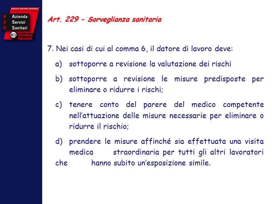 Art. 229 - Sorveglianza sanitaria 7. Nei casi di cui al comma 6, il datore di lavoro deve: a) sottoporre a revisione la valutazione dei rischi b) sott