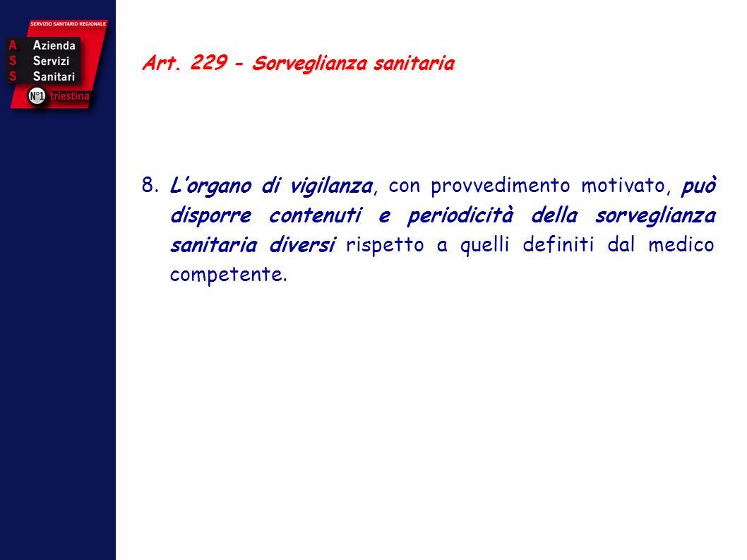 Art. 229 - Sorveglianza sanitaria 8. Lorgano di vigilanza, con provvedimento motivato, può disporre contenuti e periodicità della sorveglianza sanitar