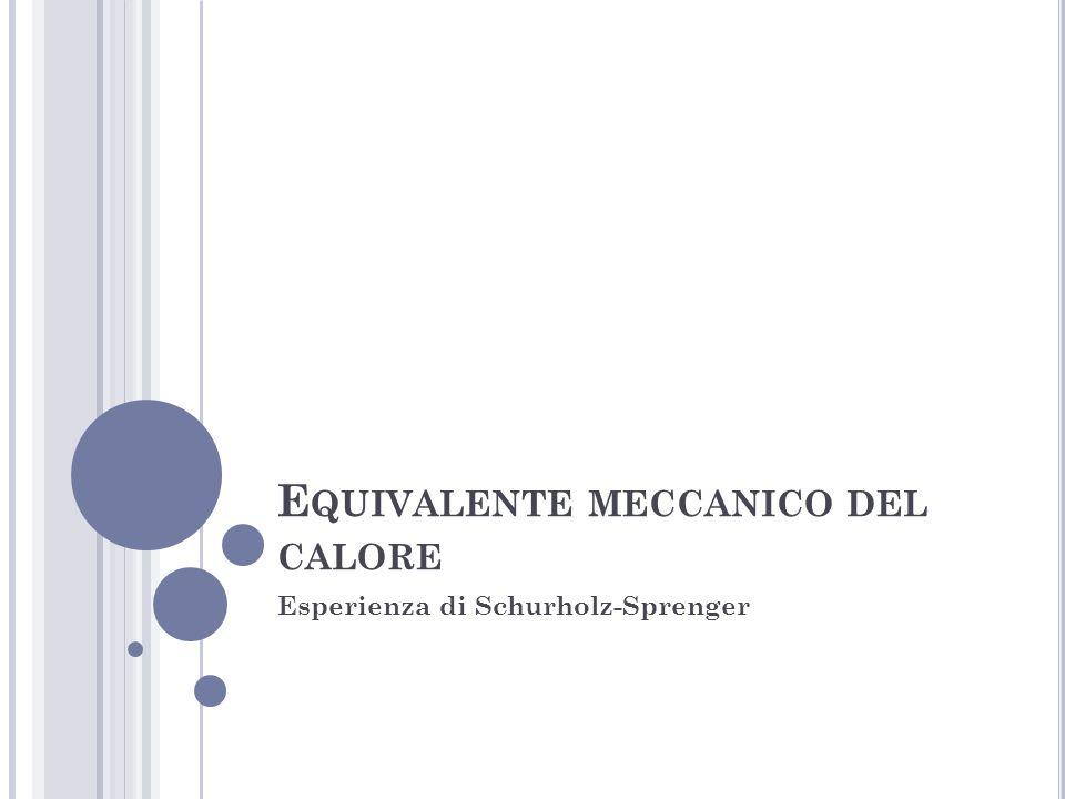 E QUIVALENTE MECCANICO DEL CALORE Esperienza di Schurholz-Sprenger