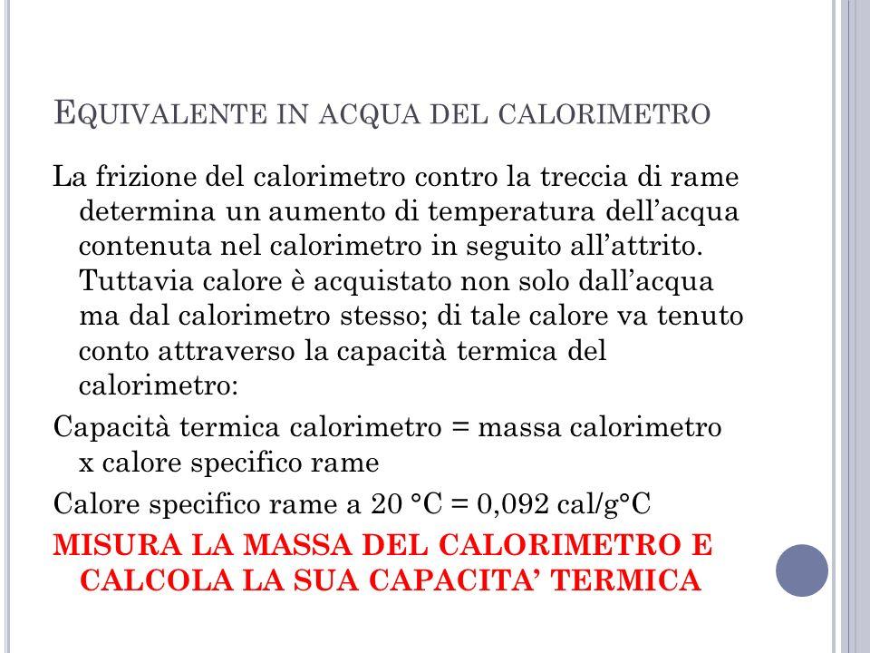 E QUIVALENTE IN ACQUA DEL CALORIMETRO La frizione del calorimetro contro la treccia di rame determina un aumento di temperatura dellacqua contenuta ne