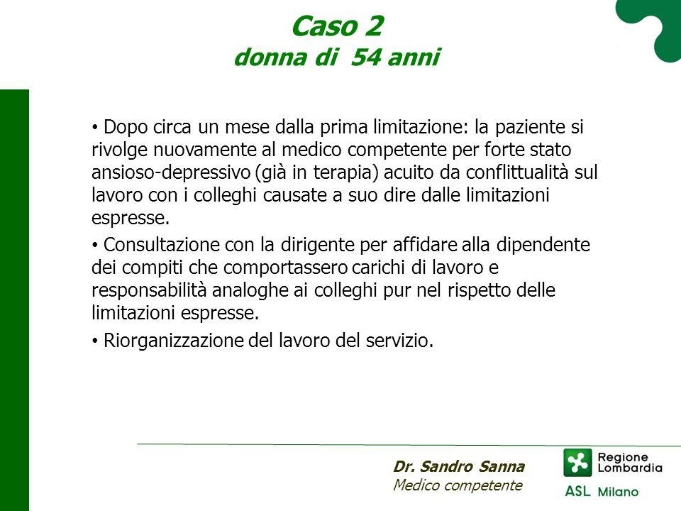 Caso 2 donna di 54 anni Dr. Sandro Sanna Medico competente Dopo circa un mese dalla prima limitazione: la paziente si rivolge nuovamente al medico com