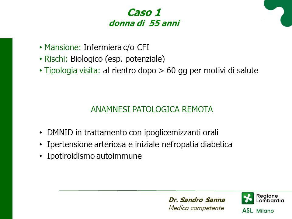 Caso 1 donna di 55 anni Mansione: Infermiera c/o CFI Rischi: Biologico (esp.