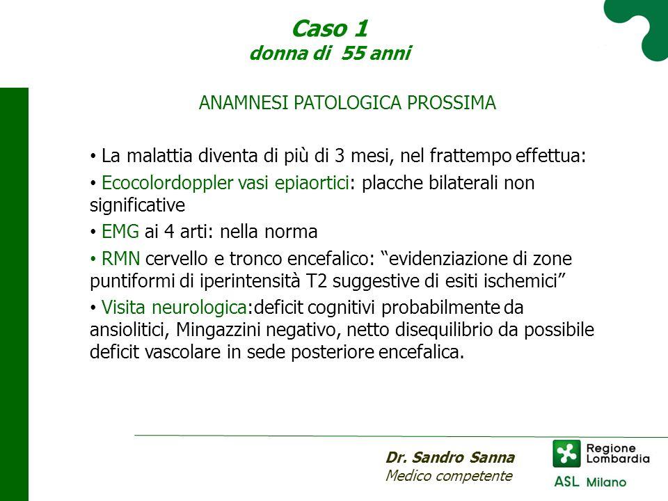 Caso 1 donna di 55 anni Dr. Sandro Sanna Medico competente ANAMNESI PATOLOGICA PROSSIMA La malattia diventa di più di 3 mesi, nel frattempo effettua: