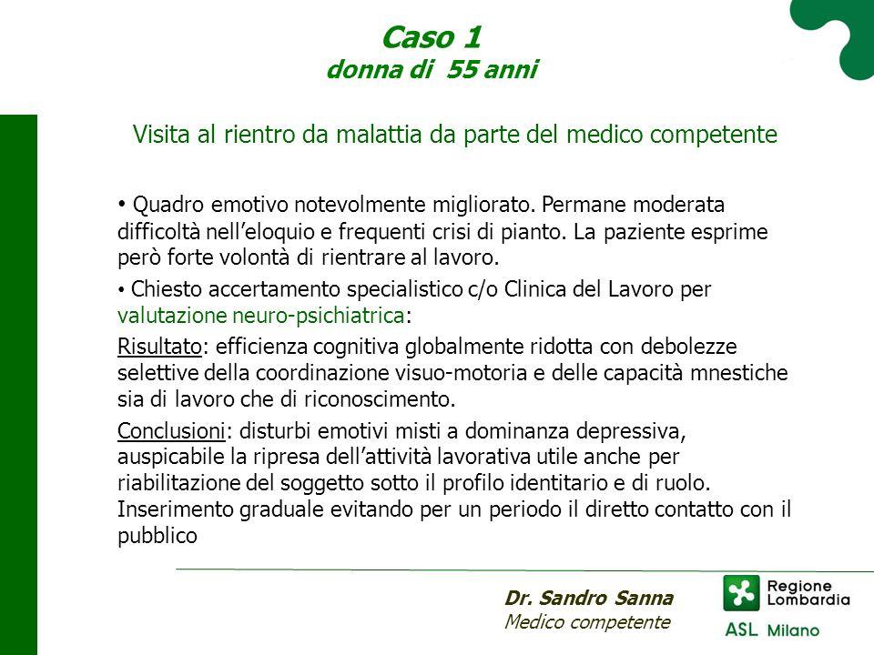 Caso 1 donna di 55 anni Dr. Sandro Sanna Medico competente Visita al rientro da malattia da parte del medico competente Quadro emotivo notevolmente mi