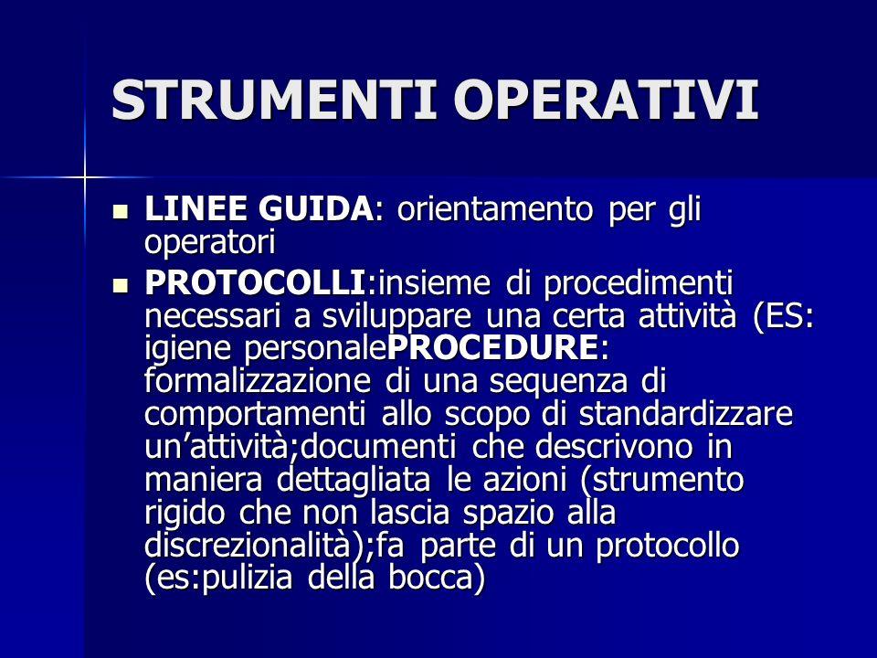 STRUMENTI OPERATIVI LINEE GUIDA: orientamento per gli operatori LINEE GUIDA: orientamento per gli operatori PROTOCOLLI:insieme di procedimenti necessa
