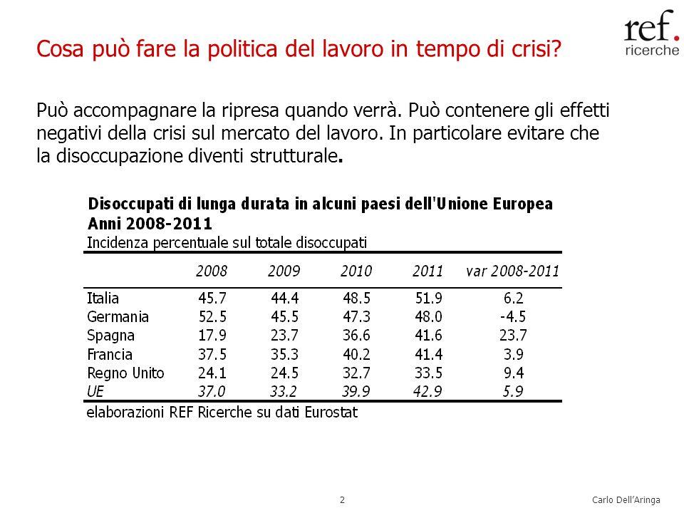 Carlo DellAringa2 Cosa può fare la politica del lavoro in tempo di crisi.
