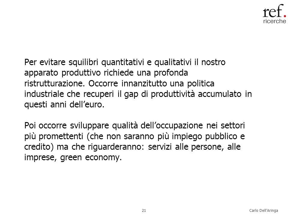Carlo DellAringa21 Per evitare squilibri quantitativi e qualitativi il nostro apparato produttivo richiede una profonda ristrutturazione.