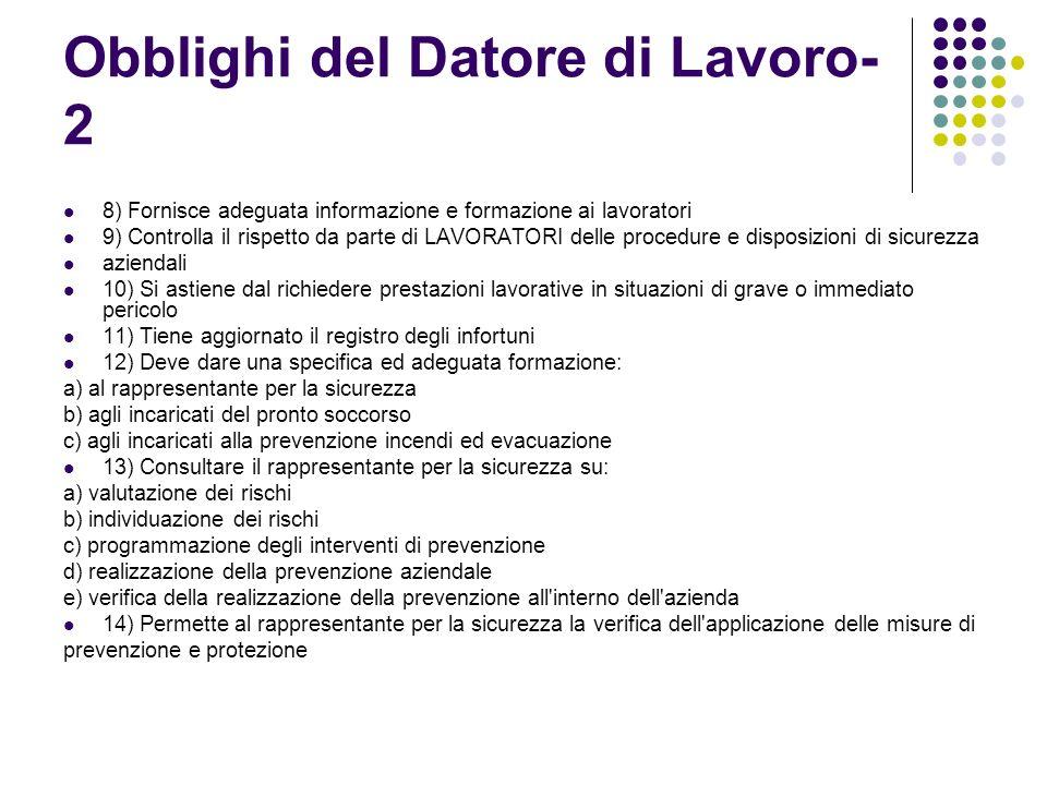 Obblighi del Datore di Lavoro- 2 8) Fornisce adeguata informazione e formazione ai lavoratori 9) Controlla il rispetto da parte di LAVORATORI delle pr